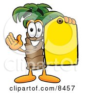Clipart Picture Of A Palm Tree Mascot Cartoon Character Holding A Yellow Sales Price Tag