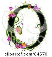 Black Capital Letter O Outlined In Green With Colorful Flowers And Butterflies