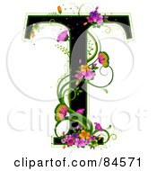Black Capital Letter T Outlined In Green With Colorful Flowers And Butterflies