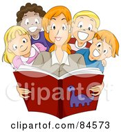 Royalty Free RF Clipart Illustration Of A Pretty Teacher Reading A Story Book To Diverse Children by BNP Design Studio