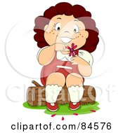Royalty Free RF Clipart Illustration Of A Happy Brunette Girl Sitting On A Stump And Picking Petals Off Of A Flower While Playing He Loves Me He Loves Me Not