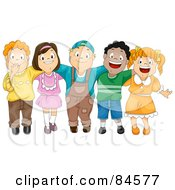 Royalty Free RF Clipart Illustration Of A Group Of Five Happy Diverse Children With Their Arms Around Each Other