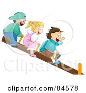 Three Happy Children Riding On A See Saw