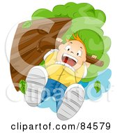 Royalty Free RF Clipart Illustration Of A Happy Boy Hanging From A Tree Branch by BNP Design Studio
