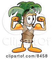 Clipart Picture Of A Palm Tree Mascot Cartoon Character Flexing His Arm Muscles
