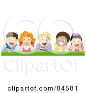 Royalty Free RF Clipart Illustration Of A Group Of Five Happy Diverse Boys And Girls Laying In Grass by BNP Design Studio