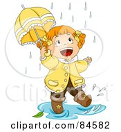 Royalty Free RF Clipart Illustration Of A Happy Little Girl Walking Through A Puddle In The Rain by BNP Design Studio