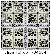 Royalty Free RF Clipart Illustration Of A Seamless Repeat Background Of Floral Crest Squares by BestVector