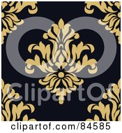 Royalty Free RF Clipart Illustration Of A Seamless Repeat Background Of Yellow Floral Crests On Black by BestVector