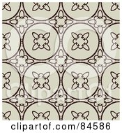 Royalty Free RF Clipart Illustration Of A Seamless Repeat Background Of Dark Brown Floral Circles On Tan