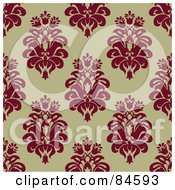 Royalty Free RF Clipart Illustration Of A Seamless Repeat Background Of Red Floral Crests On Tan by BestVector