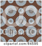 Royalty Free RF Clipart Illustration Of A Seamless Repeat Background Of Round Blue Flowers On Brown