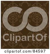Royalty Free RF Clipart Illustration Of A Seamless Repeat Background Of Brown Crest Designs On Brown by BestVector
