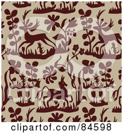 Royalty Free RF Clipart Illustration Of A Seamless Repeat Background Of Brown Plants Flowers And Deer On Beige by BestVector