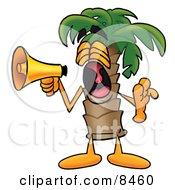 Palm Tree Mascot Cartoon Character Screaming Into A Megaphone