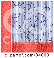 Royalty Free RF Clipart Illustration Of A Seamless Repeat Background Of A Red Floral Border And Blue Lined Background by BestVector