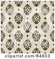 Royalty Free RF Clipart Illustration Of A Seamless Repeat Background Of Dark Brown Crests And Diamsonds On Beige by BestVector
