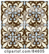 Seamless Repeat Background Of Blue And Beige Fleur De Lis Designs On Brown