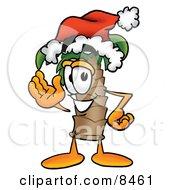 Palm Tree Mascot Cartoon Character Wearing A Santa Hat And Waving