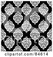 Royalty Free RF Clipart Illustration Of A Seamless Repeat Background Of Black And White Crest Designs On Black by BestVector