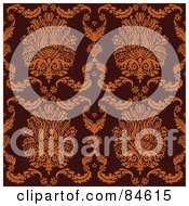 Royalty Free RF Clipart Illustration Of A Seamless Repeat Background Of Elegant Orange Crests And Leaves On Brown by BestVector
