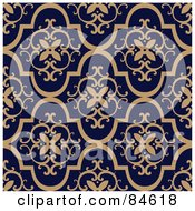 Royalty Free RF Clipart Illustration Of A Seamless Repeat Background Of Tan Crest Designs On Dark Blue by BestVector