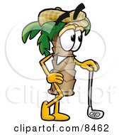 Clipart Picture Of A Palm Tree Mascot Cartoon Character Leaning On A Golf Club While Golfing by Toons4Biz