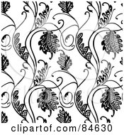 Royalty Free RF Clipart Illustration Of A Seamless Repeat Background Of Black And White Floral Hatch Vines by BestVector