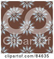 Royalty Free RF Clipart Illustration Of A Seamless Repeat Background Of Blue And Brown Daisies On Brown by BestVector