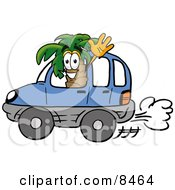 Palm Tree Mascot Cartoon Character Driving A Blue Car And Waving
