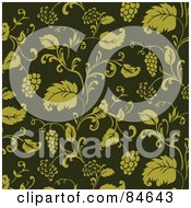 Royalty Free RF Clipart Illustration Of A Seamless Repeat Background Of Green Grape Vines by BestVector