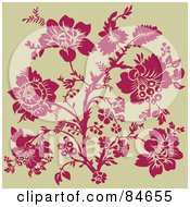 Royalty Free RF Clipart Illustration Of A Pink Rose Design On Beige by BestVector