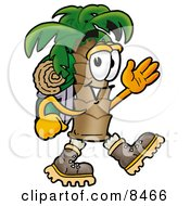 Palm Tree Mascot Cartoon Character Hiking And Carrying A Backpack