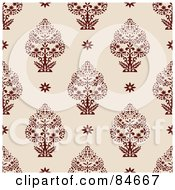 Royalty Free RF Clipart Illustration Of A Seamless Repeat Background Of Red Trees And Flowers On Beige by BestVector