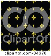 Royalty Free RF Clipart Illustration Of A Seamless Repeat Background Of Yellow Ovals And Fleur De Lis Designs On Black by BestVector