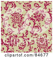 Royalty Free RF Clip Art Illustration Of A Seamless Repeat Background Of Pink Roses On Tan