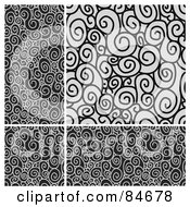 Royalty Free RF Clipart Illustration Of A Seamless Repeat Background Of A Black And Gray Swirl Border And Background by BestVector