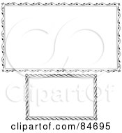 Royalty Free RF Clipart Illustration Of A Digital Collage Of Two Flora Vine Borders In Black And White