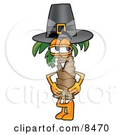Palm Tree Mascot Cartoon Character Wearing A Pilgrim Hat On Thanksgiving by Toons4Biz