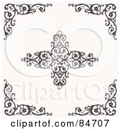Royalty Free RF Clipart Illustration Of A Digital Collage Of Floral Corners And A Cross by BestVector