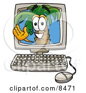 Clipart Picture Of A Palm Tree Mascot Cartoon Character Waving From Inside A Computer Screen
