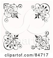 Royalty Free RF Clipart Illustration Of A Digital Collage Of Four Black Corner Elements by BestVector