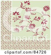 Royalty Free RF Clipart Illustration Of A Seamless Repeat Background Of A Red And Beige Floral Border And Background by BestVector