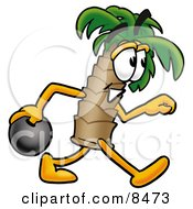 Clipart Picture Of A Palm Tree Mascot Cartoon Character Holding A Bowling Ball by Toons4Biz