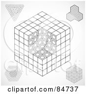 Royalty Free RF Clipart Illustration Of A Digital Collage Of Blocks And Cubes