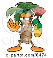 Clipart Picture Of A Palm Tree Mascot Cartoon Character Holding A Red Rose On Valentines Day