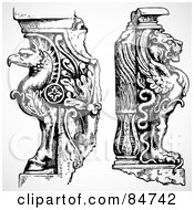 Royalty Free RF Clipart Illustration Of A Digital Collage Of Black And White Griffon And Winged Lion End Statues by BestVector