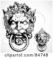 Royalty Free RF Clipart Illustration Of A Digital Collage Of Black And White Gargoyle Door Knockers by BestVector