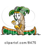 Clipart Picture Of A Palm Tree Mascot Cartoon Character Rowing A Boat by Toons4Biz