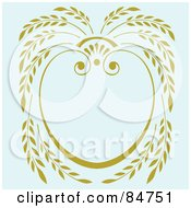 Royalty Free RF Clipart Illustration Of A Yellow Laurel Frame Over Pale Blue by BestVector